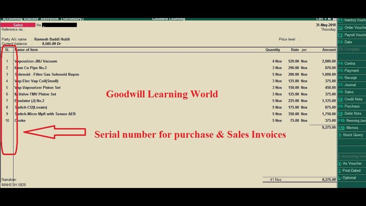 Tally TDL for item Serial Number for Sales invoice and purchase invoice