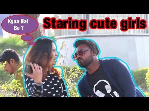 Staring at cute girls in India||prank on cute girls||Hilarious reactions||by Ravi||2019||AR jatav's