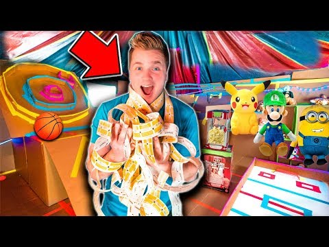 BOX FORT ARCADE 2!!  Won All The Tickets - Basketball, Skee Ball, Toys & More