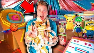 BOX FORT ARCADE 2!! 📦🕹 Won All The Tickets - Basketball, Skee Ball, Toys & More