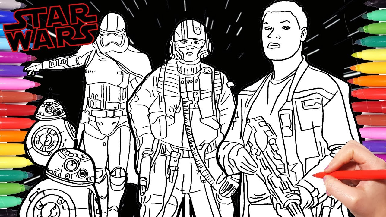 STAR WARS THE LAST JEDI Coloring Pages  How to Draw and Paint Star Wars  Characters for Kids