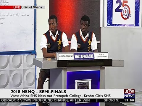 West Africa SHS kicks out Prempeh College, Krobo Girls SHS – NSMQ 2018 on JoyNews (2-7-18)