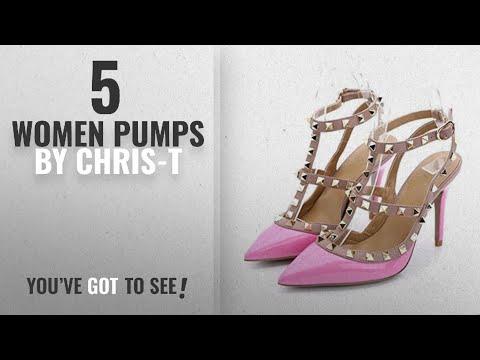Top 5 Chris-T Women Pumps [2018]: Chirs-T Women's Rivets T-Strap Pink Studs Straps Stilettos Buckle