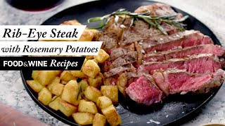 Grilled Rib-Eye Steaks with Roasted Rosemary Potatoes | Grilling Recipe