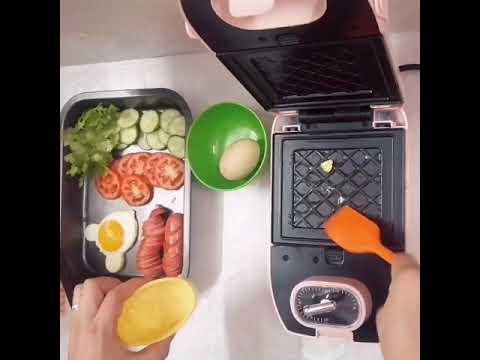 Máy kẹp nướng bánh mì mini Midimori MDMR-1366 + Gồm 5 khay nướng bánh đi kèm