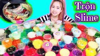 Dùng Máy Xây Hết Bộ Sưu Tập Slime Của Chị Kem Bơ - Slime Mixing