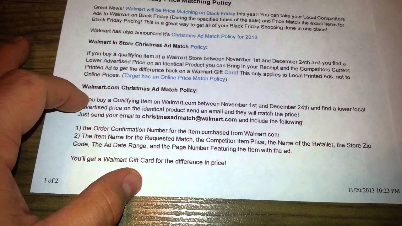 New Walmart Black Friday Holiday Price Match Policies Extreme Coupon Youtube