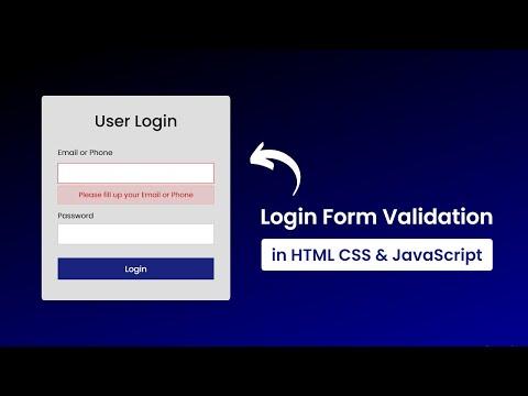 Validated Login Form Using HTML, CSS & Javascript