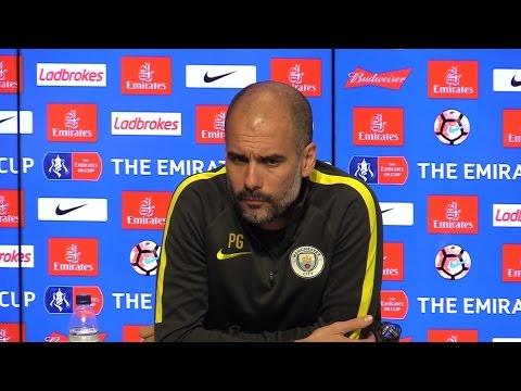 Pep Guardiola Pre-Match Press Conference - Manchester City v Huddersfield Town- Embargo Extras