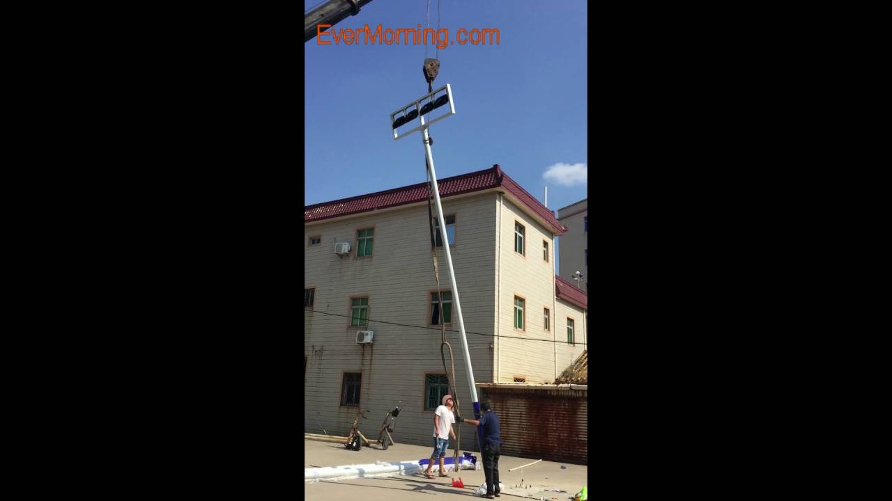 Installation Of Outdoor Led Basketball Court Lights Youtube