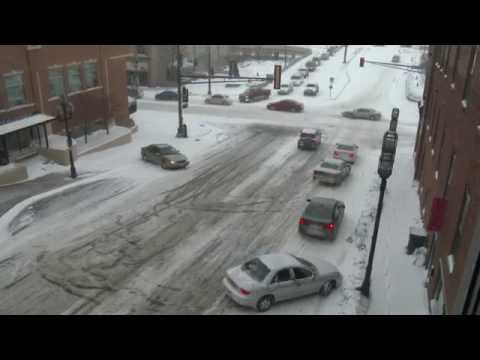 Cars Sliding On Lake Ave. In Duluth, MN