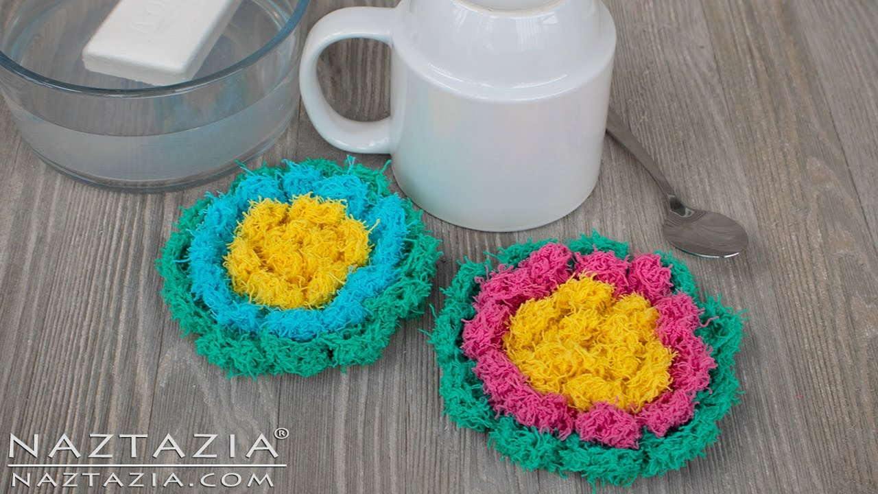 Crochet Blossom Scrubby - Flower Scrubbies for Kitchen or Bath - DIY ...