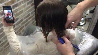 Стрижка каре филировочными ножницами. Haircut bob/