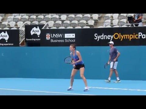 Simona Halep training with Makarova - Sydney Apia Jan 2016