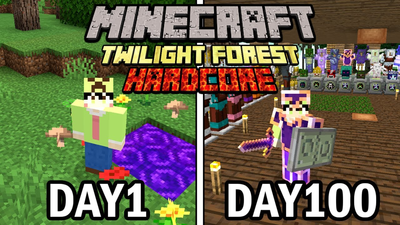 【マインクラフト】黄昏の森の世界で100日ハードコア生活をして完全攻略したらヤバかった【100days】【Minecraft】