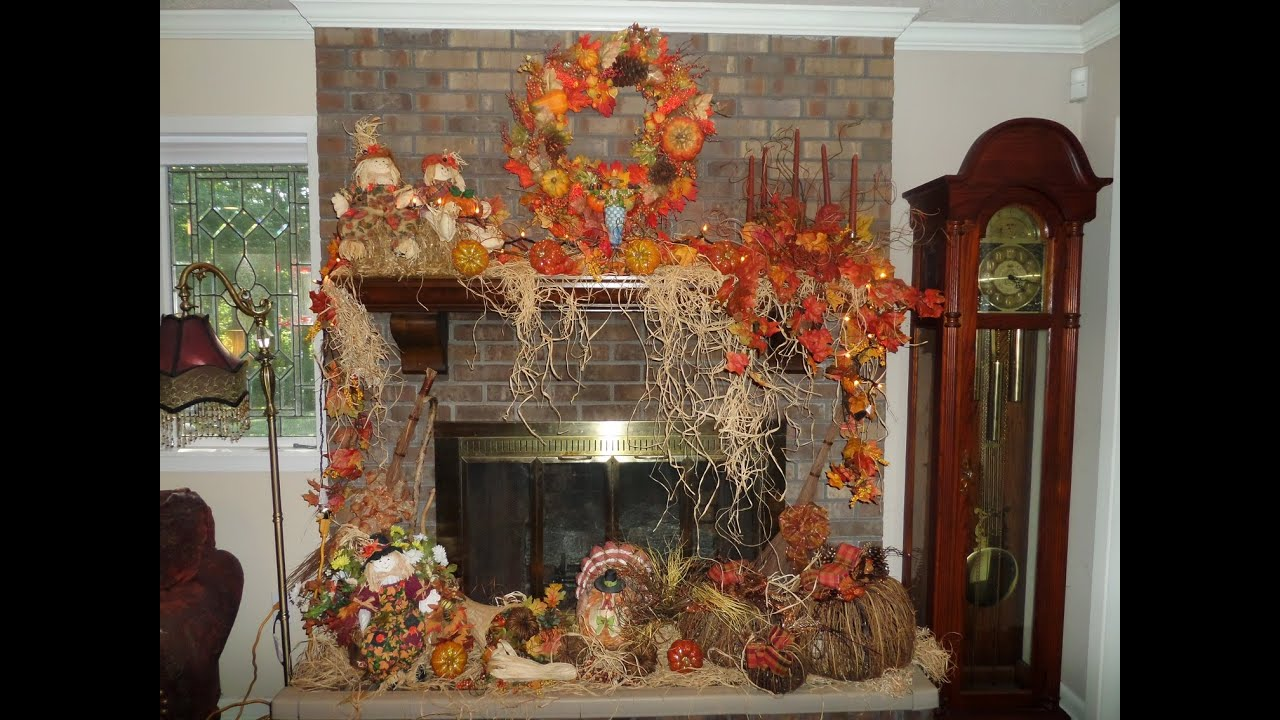 Dining Room Christmas Decorations How I Decorate My Mantel And Fireplace For Fall Youtube