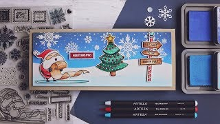 Arteza Coloring Christmas Scene | Simon's December Card Kit