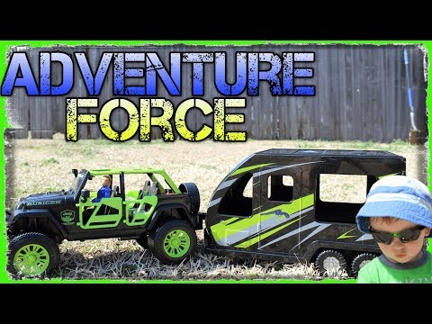 Adventure Force Outdoor Adventure Jeep Wrangler & Utility Trailer Unboxing Water Play Fun