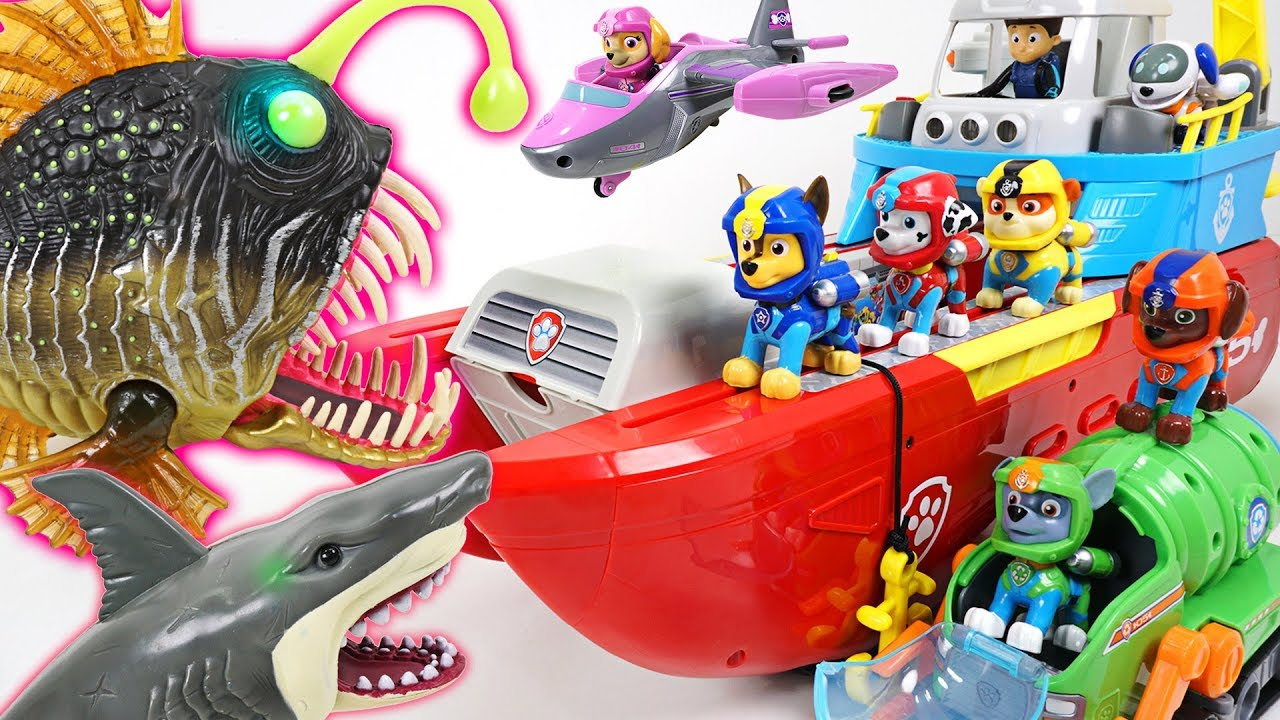 Monster angler fish and shark appeared! Paw Patrol transforming sea ...