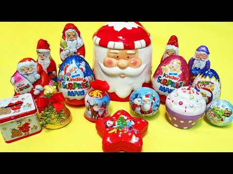 Christmas surprise eggs Chocolate santa & Kinder Maxi