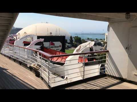 RMS Queen Mary Ocean Liner: Walk from Sports Deck Down to Sun and Promenade Decks