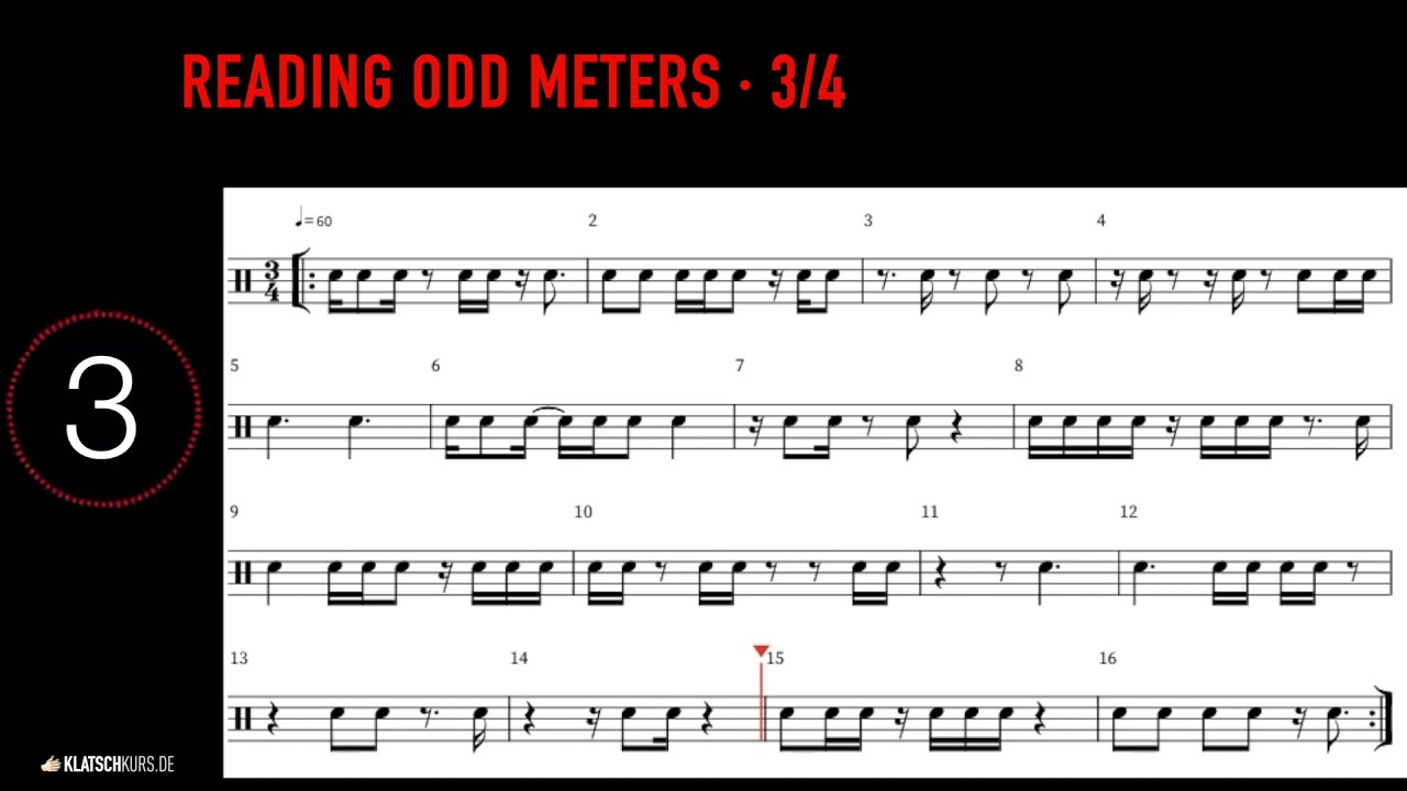 Reading Odd Meters, 3/4, 60bpm, Full - Klatschkurs - Rhythm Reading - by Kristof Hinz