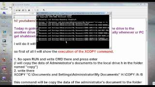 how to take backup using xcopy command
