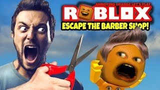 ROBLOX: Fuga dal barbiere negozio OBBY 😠✂️ 💨🍊 💨🍊 [Annoying Orange Plays]