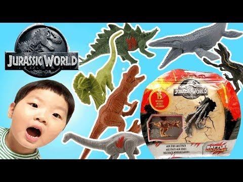 쥬라기 월드 폴른 킹덤 속 공룡들이 나타났다! 미니 다이노 세트 15마리 쥬라기 공룡 장난감! 인도랩터 티렉스 블루