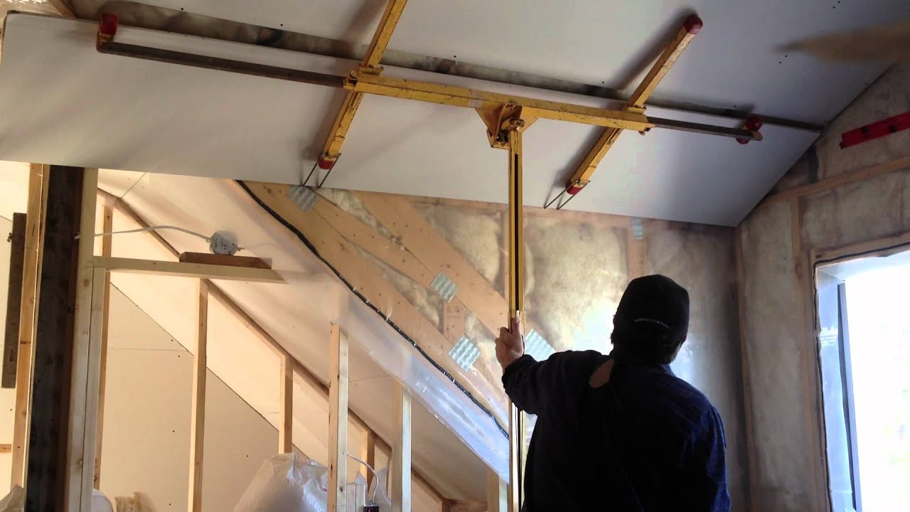 Tricky Drywall Install On Vaulted Ceiling Youtube