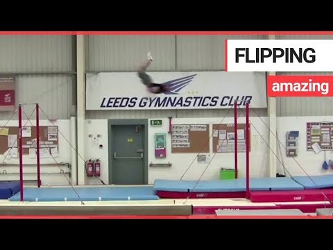 download Gymnast flies through the air to break world record | SWNS TV