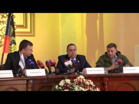 (ENG SUB) Heads of DPR, LPR, & OSCE-SMM Ukraine give their 1st press conference.