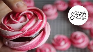One of The Scran Line's most viewed videos: ROSE MERINGUE COOKIES WITH CHOCOLATE GANACHE - The Scran Line