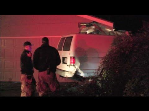 Suspect Crashes Stolen Van Into 2 Houses & Flees The Scene On Foot - Modesto News Footage