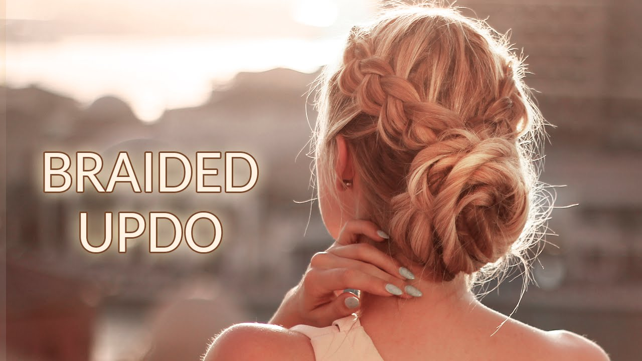 Braided updo hairstyle for Christmas holidays, New Year party ...