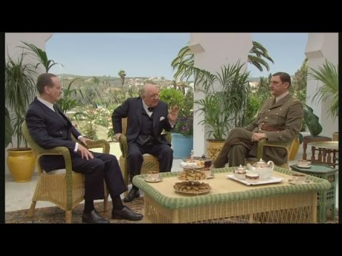 Churchill, De Gaulle and Roosevelt meeting in Casablanca (1943) - french movie w/ subtitles