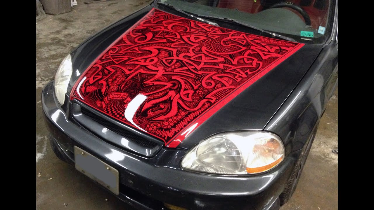 sharpie honda civic car vehicle paint job hood youtube