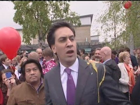 Ed Miliband gets hit by an egg during Southampton walkabout