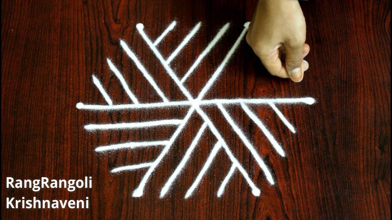 Simple Kolam Designs with 3*2 dots | Easy Daily Muggulu | Small Rangoli | RangRangoli