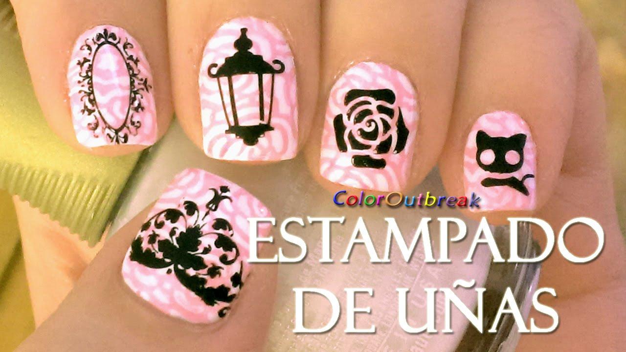 ✿Arte y Diseño Para Estampado de Uñas- Espejo, Flores Rosas, Gato ...