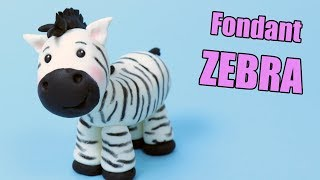 ZEBRA cake topper tutorial! How to make fondant zebra | Fondant cake decorating for beginners