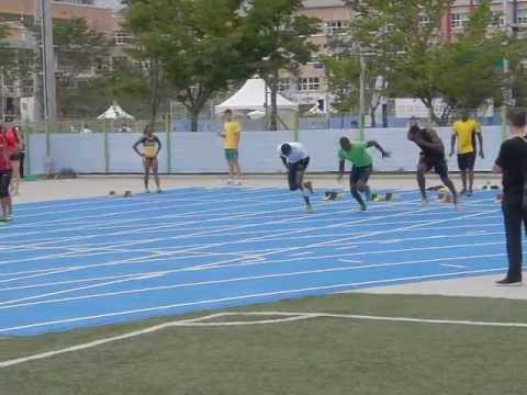 Usain Bolt and Yohan Blake 2011 40m Block start in High quality slow motion www.mattybdept.com