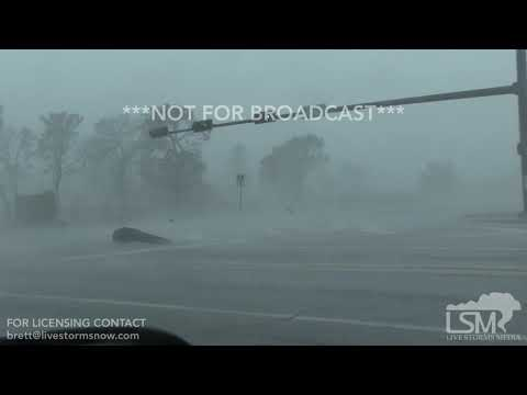 10-10-18 Tyndall AFB, FL - Large flying debris, best of - Hurricane Michael