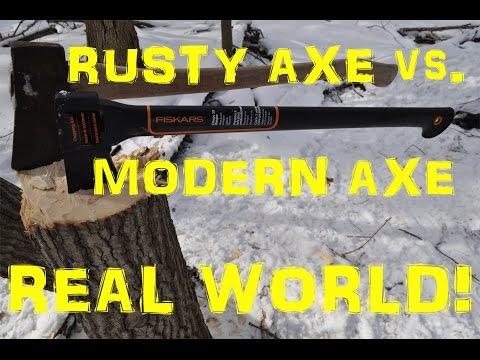 THE REAL Modern Axe vs. Rusty Axe! Cutting Trees!