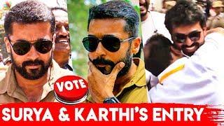 விறு விறுப்பு ஆகிட்டீங்க   Surya & Karthi cast their VOTE for Nadigar Sangam Election 2019