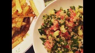Easy Simple Vegan Dinner: Oil-free Quinoa Tabbouleh + Potato Wedges