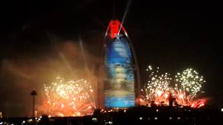 Fireworks and laser show on Burj Al Arab, Dubai