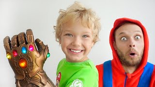 Lev and dad pretend to play the magic glove / Education video