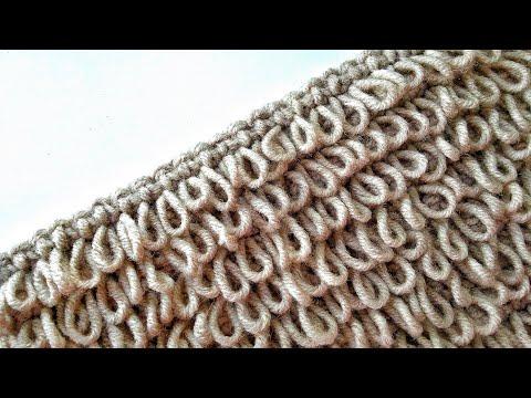Узор с длинными петлями крючком