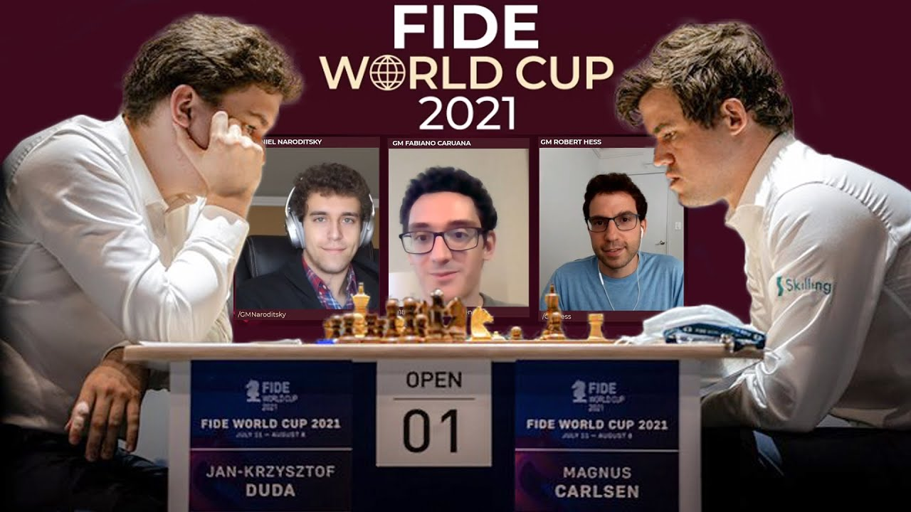 Carlsen Vs Duda  | Ft. Caruana, Naroditsky & Hess | Fide World Cup Commentary